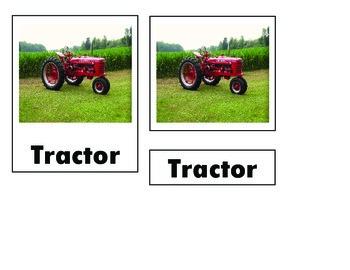 Montessori Farm Tractor Nomenclature Cards