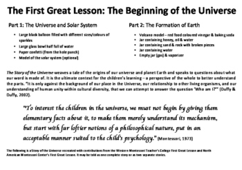 Montessori First Great Lesson: The Story of the Universe