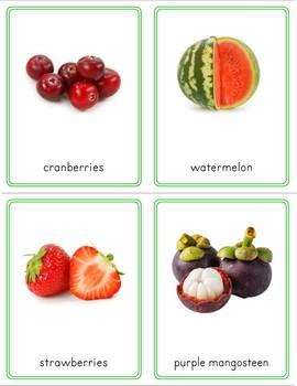 Montessori Fruit 3 Part Cards