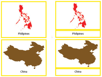 Montessori Geography - Asia map 3-parts card