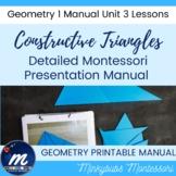 Montessori Geometry Constructive Triangles Presentation & Analysis for 6 sets