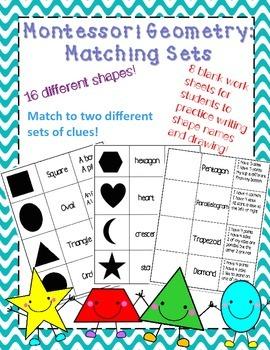 Montessori Geometry Shape Matching Sets and Worksheets