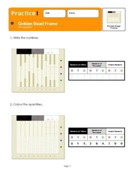 Montessori Golden Bead Frame Introduction Workbook