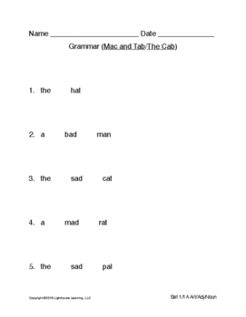 Montessori Grammar (Art/Adj/Noun) for Primary Phonics Sets 1-1A - Free Download