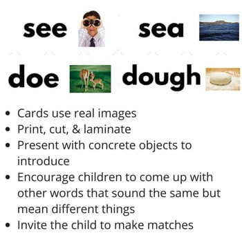 Montessori Grammar Homophone Matching Cards (REAL IMAGES)