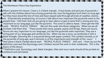 Montessori The Noun Key Experience plural, proper, abstract, printable materials