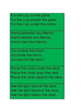 Montessori Grammar Prepositions