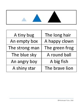 Montessori Grammar sentences and symbols bundle