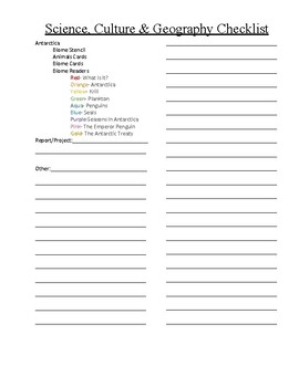 Montessori Great Lesson, Science, Geography Checklist