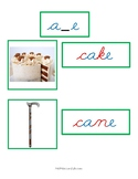 Montessori Green Series Photo and Word Cards in Cursive