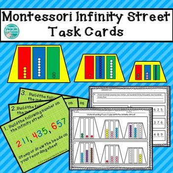 Montessori Infinity Street, Task Cards, & Recording Sheet