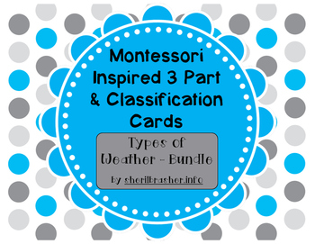 Montessori Inspired 3 Part Cards: Types of Weather - MEGA BUNDLE Pack {SAVE 20%}