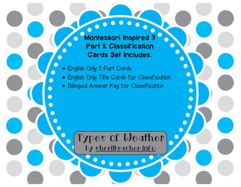 Montessori Inspired 3 Part Classification Cards: Types of Weather - English Pack