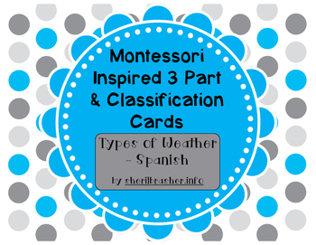 Montessori Inspired 3 Part Classification Cards: Types of Weather - Spanish Pack