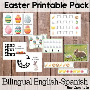 Montessori Inspired Easter Preschool Pack Bilingual English Spanish