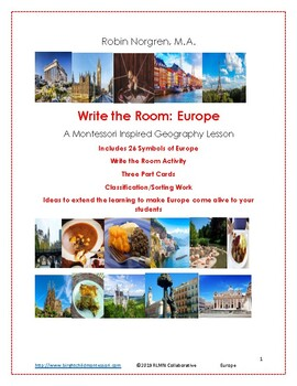 Montessori Inspired Geography Europe Write the Room A to Z 3 part cards