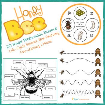 20 Page Honey Bee Preschool Bundle Tpt