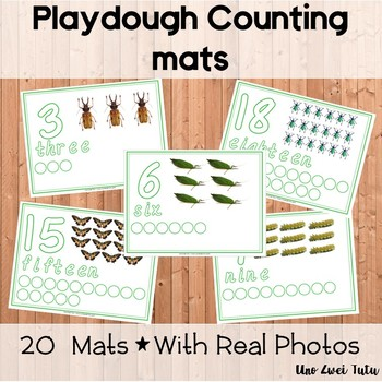Insects Playdough Counting Mats | Spring Playdough Number Mats