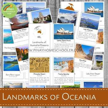 Montessori Inspired Landmarks of Australia/Oceania 3 Part Cards and Fact Cards