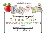 Montessori Inspired Natural Maple Alphabet & Number Cards & Sign Language Charts