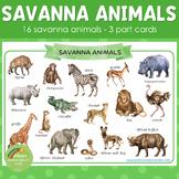 Savannah Animals Montessori 3 Part Cards