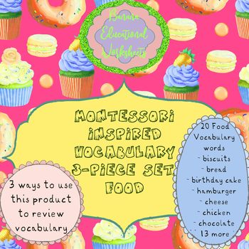 Montessori Inspired Vocabulary 3-piece set, Food