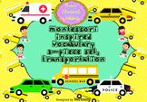 Montessori Inspired Vocabulary 3-piece set, Transportation