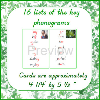 Montessori - Key Phonogram Lists D'Nealian