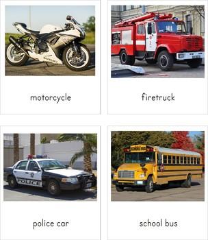 Montessori Land Transportation 3 Part Cards
