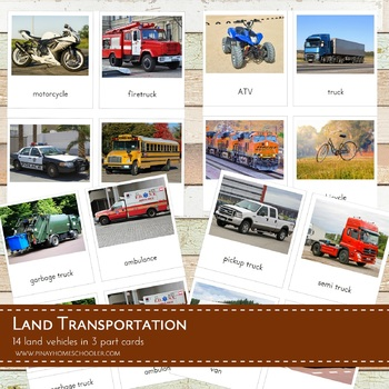 Montessori Land Transportation 3 Part Cards