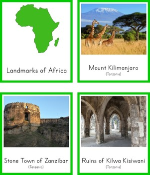Montessori Landmarks of Africa 3 Part Cards and Fact Cards