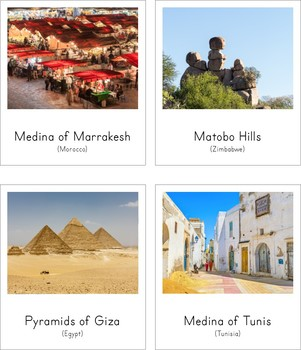 Montessori Inspired Landmarks of Africa 3 Part Cards and Fact Cards