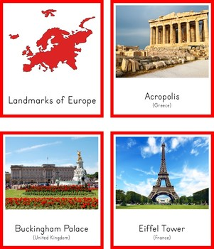 Montessori Landmarks of Europe 3 Part Cards and Fact Cards
