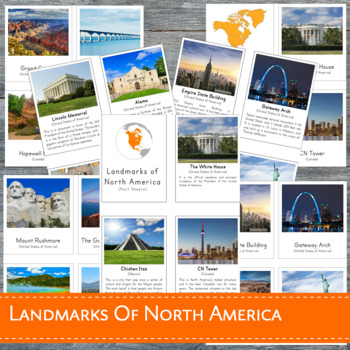 Montessori Landmarks of North America 3 Part Cards and Fact Cards