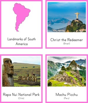 Montessori Landmarks of South America 3 Part Cards and Fact Cards
