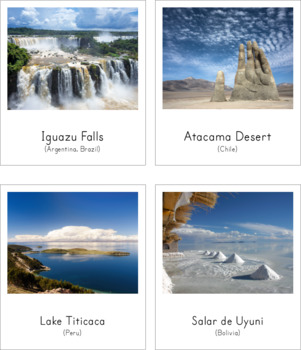 Montessori Inspired Landmarks of South America 3 Part Cards and Fact Cards