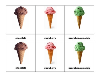 Montessori 3 part Language Cards - Ice-Cream Cones