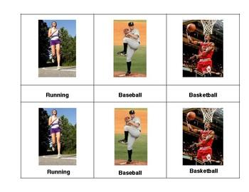 Montessori 3 part  Language Cards - Sports
