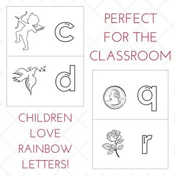 Montessori Rainbow Letters - February Themed
