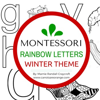 Montessori Language Letter Writing Practice - RAINBOW LETTERS - WINTER THEME