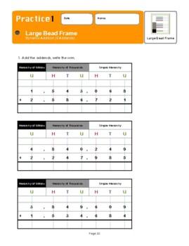 Montessori Large Bead Frame Addition with 2 addends Workbook