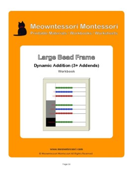 Montessori Large Bead Frame Addition with 3+ addends Workbook