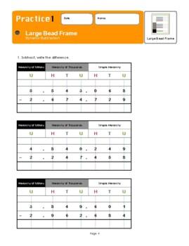 Montessori Large Bead Frame Subtraction Workbook
