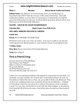 Montessori Lesson Plan OCTOBER 4 weeks of DAILY curriculum