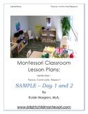 Montessori Lesson Plan September FREEBIE Day 1 and 2 Thoro