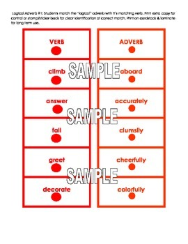 Montessori Logical Adverb Card Super Pack! Four Activities!