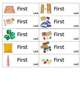Montessori Material Name Tags