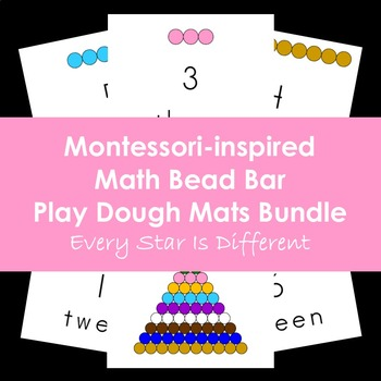 Montessori Math Bead Bar Play Dough Mats Bundle