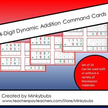 4 Digit 10 Montessori Math Dynamic Addition Command Cards with Control of Error