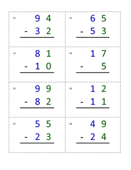 Montessori Math Equation Cards- Two digit, static